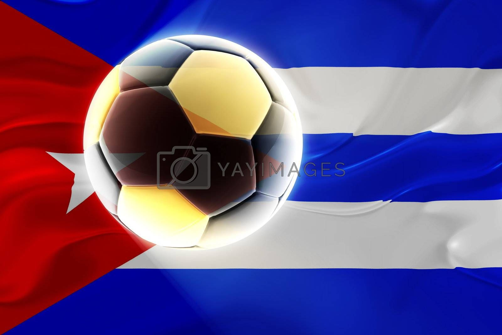 Flag of Cuba, national symbol illustration clipart wavy fabric sports soccer football