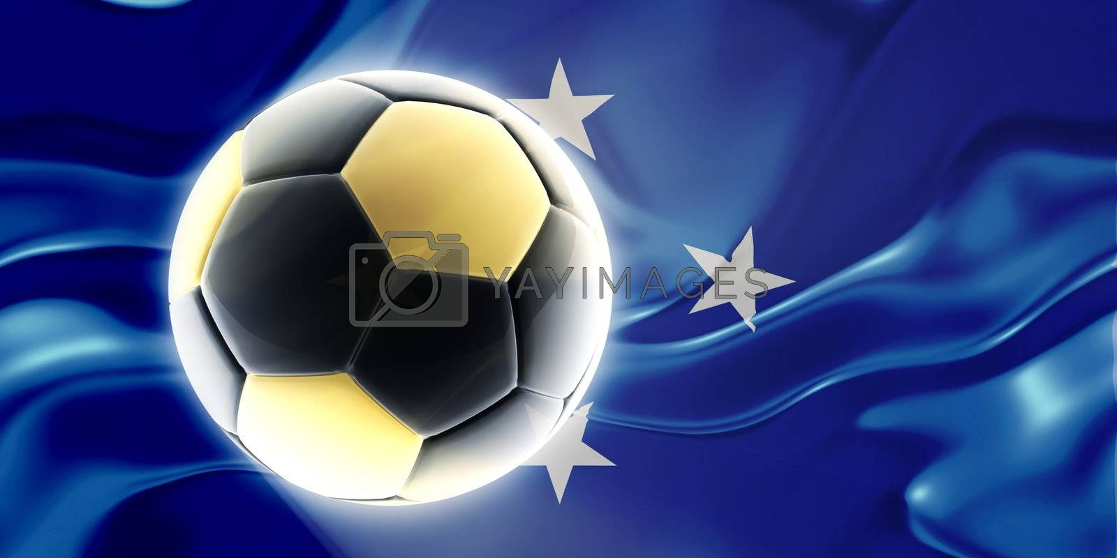 Flag of Micronesia, national country symbol illustration wavy fabric sports soccer football