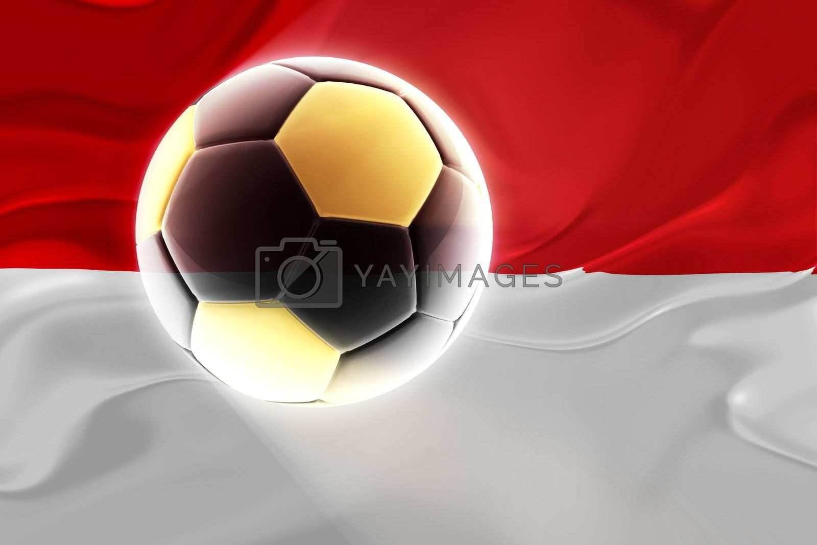 Flag of Monaco, national country symbol illustration wavy fabric sports soccer football