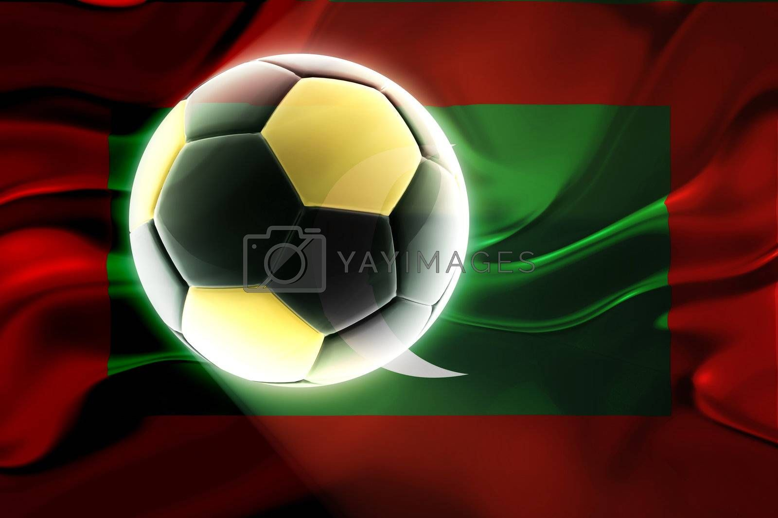 Flag of Maldives, national country symbol illustration wavy fabric sports soccer football