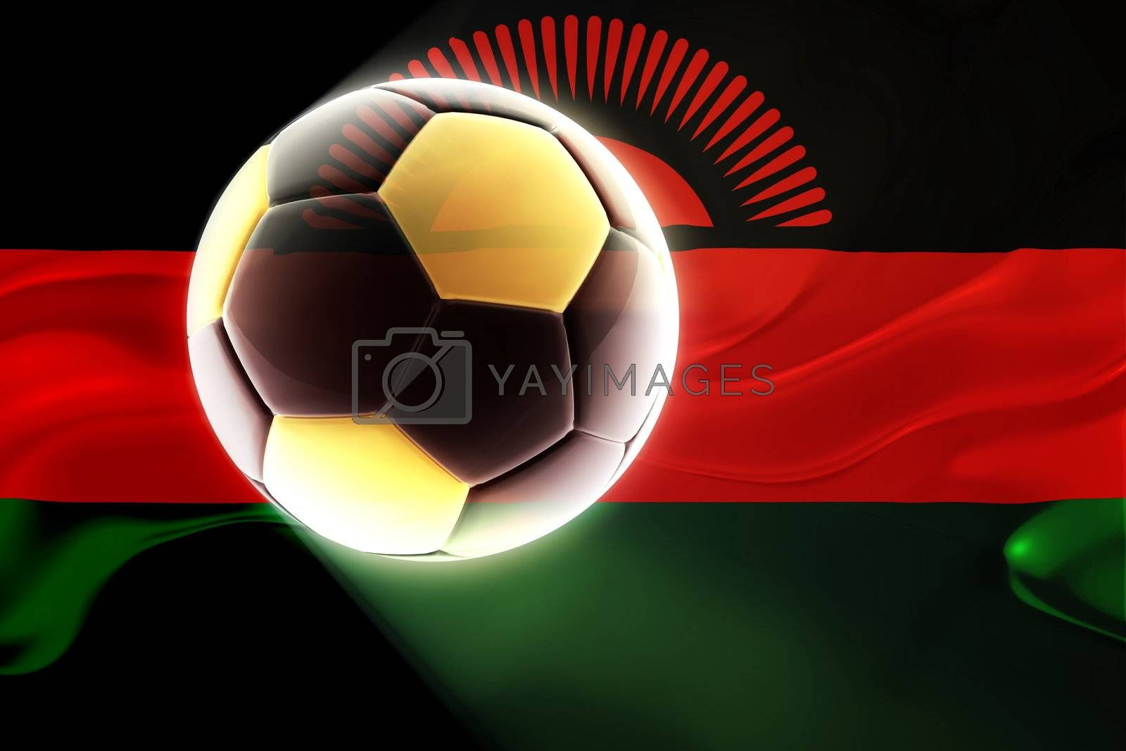 Flag of Malawi, national country symbol illustration wavy fabric sports soccer football