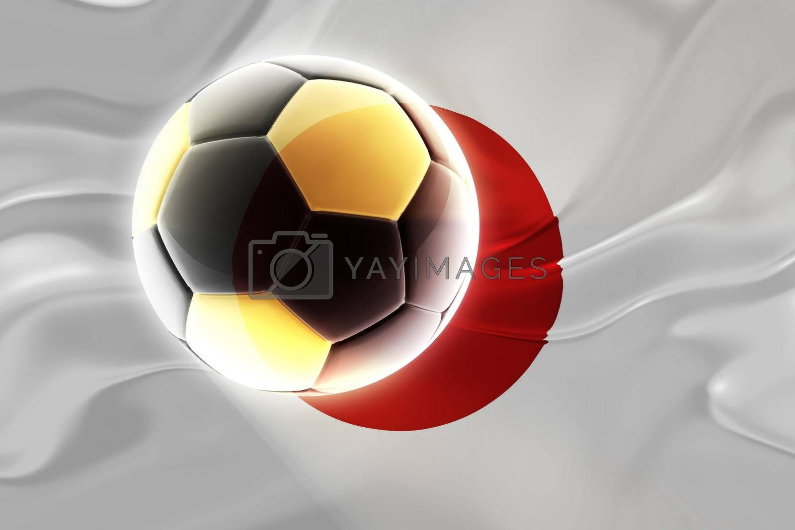 Flag of Japan, national country symbol illustration wavy fabric sports soccer football