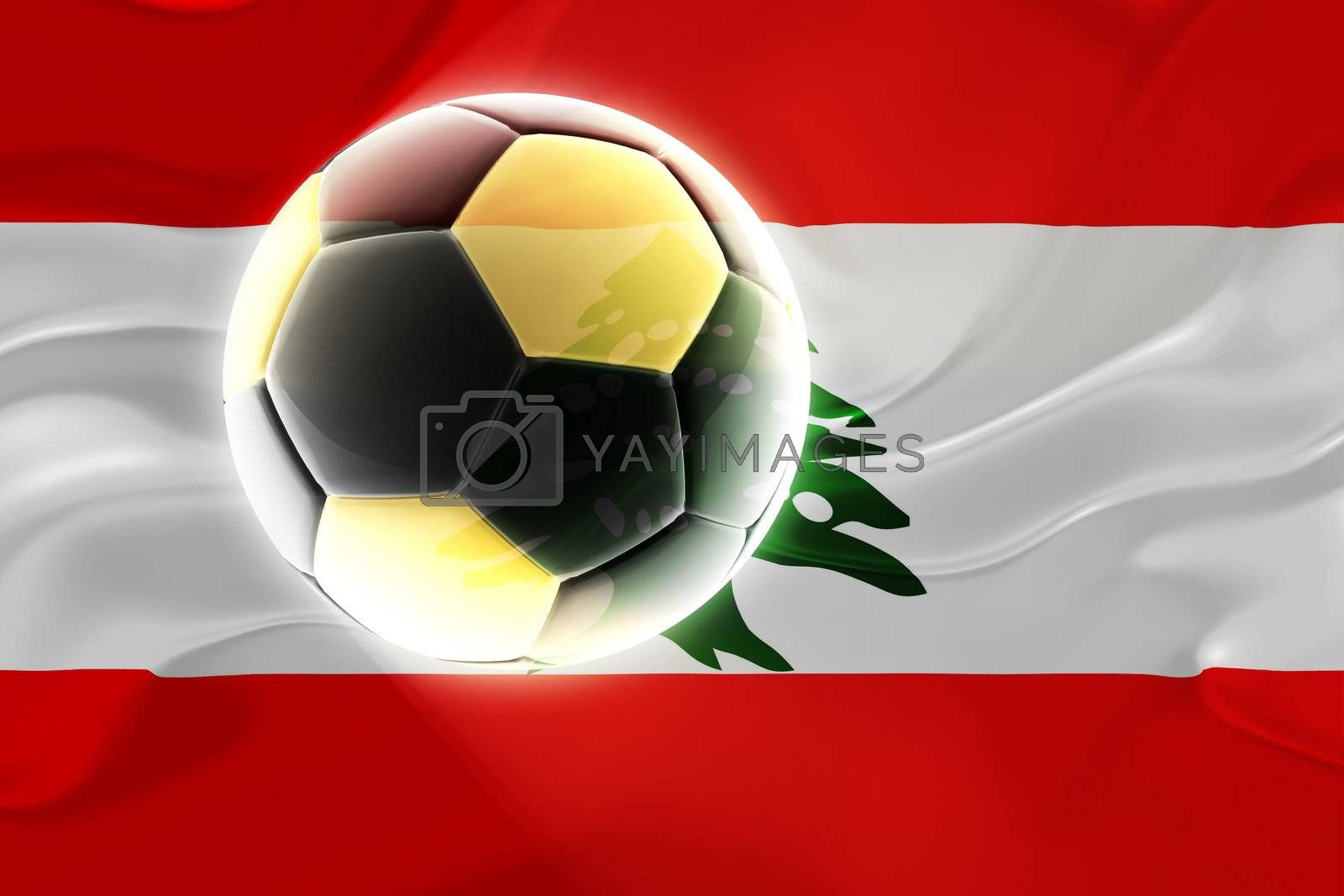 Flag of Lebanon, national country symbol illustration wavy fabric sports soccer football