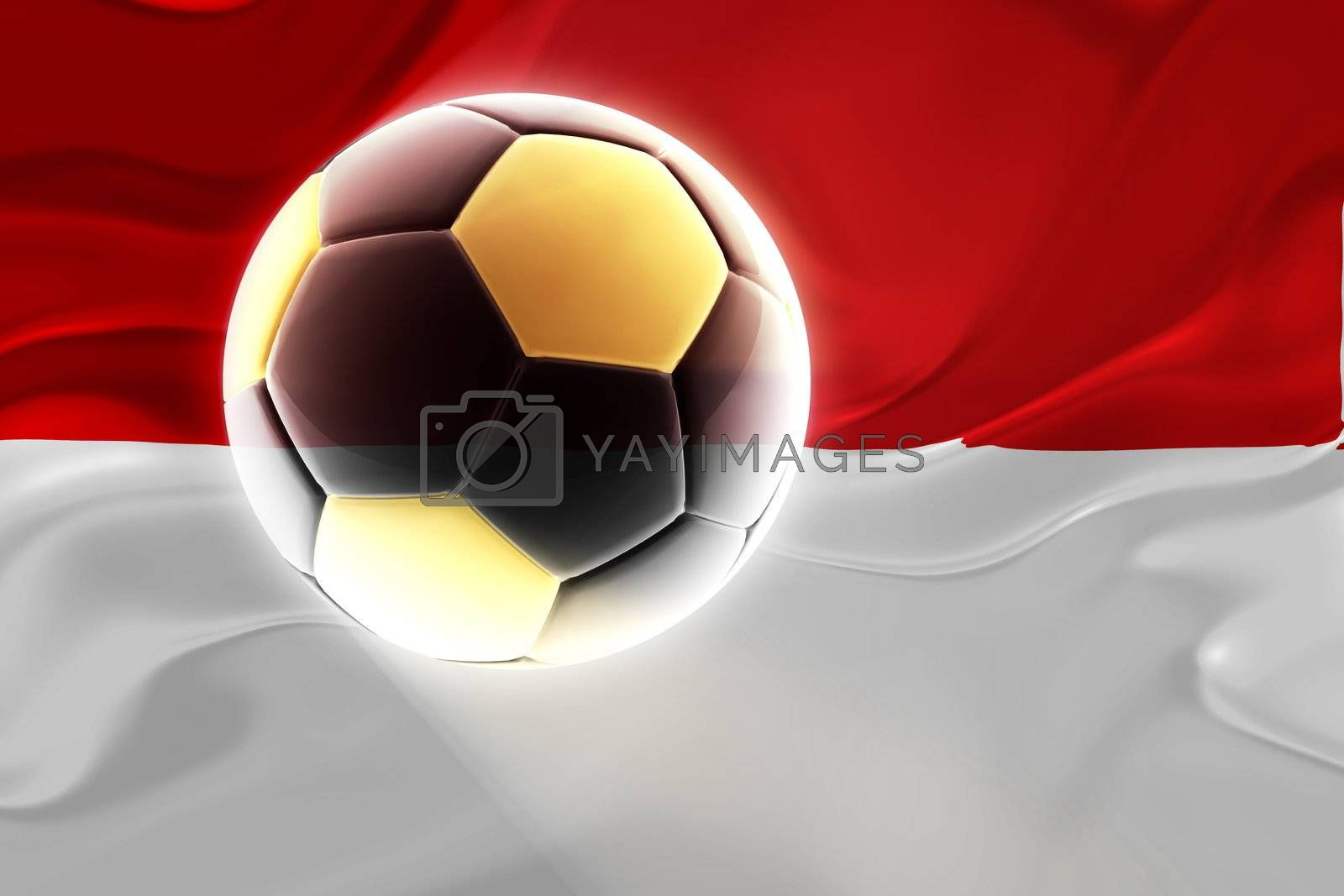 Flag of Indonesia, national country symbol illustration wavy fabric sports soccer football