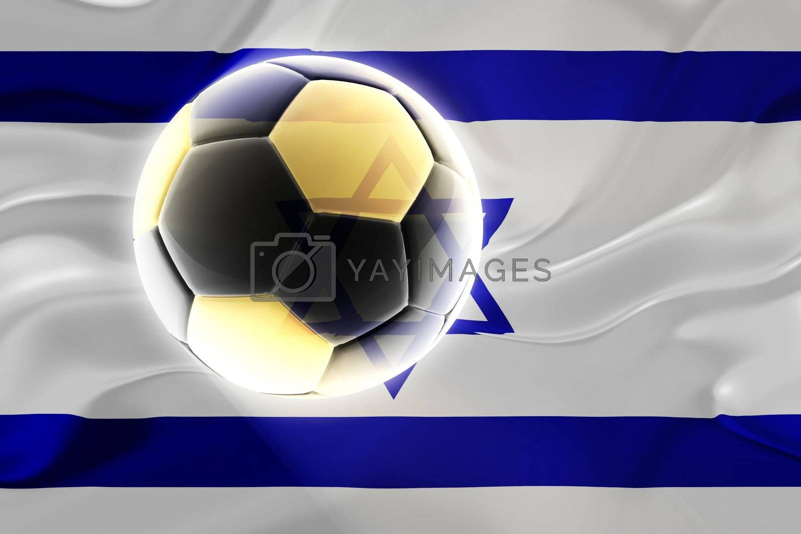 Flag of Israel, national country symbol illustration wavy fabric sports soccer football