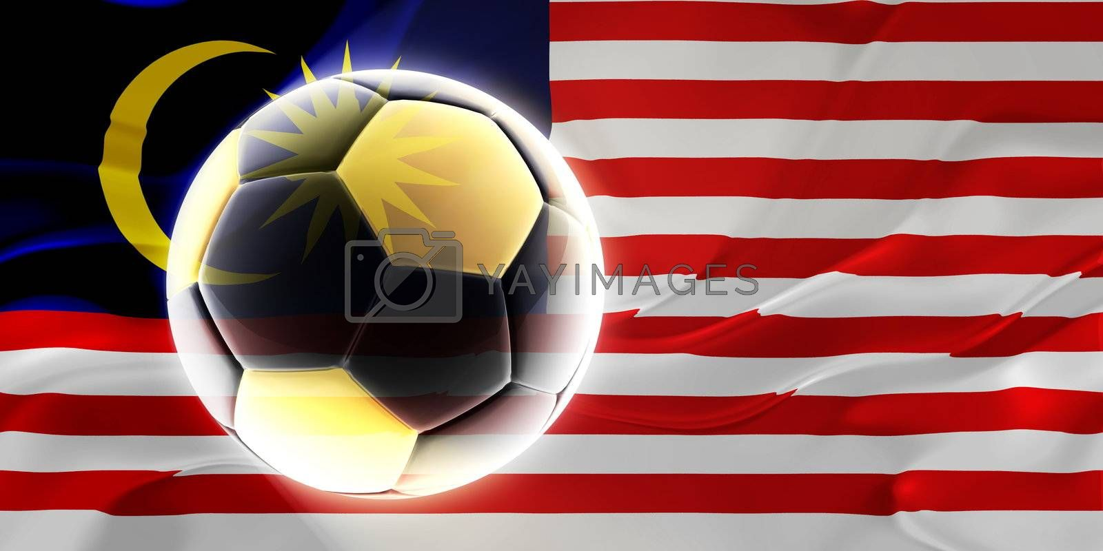 Flag of Malaysia, national country symbol illustration wavy fabric sports soccer football