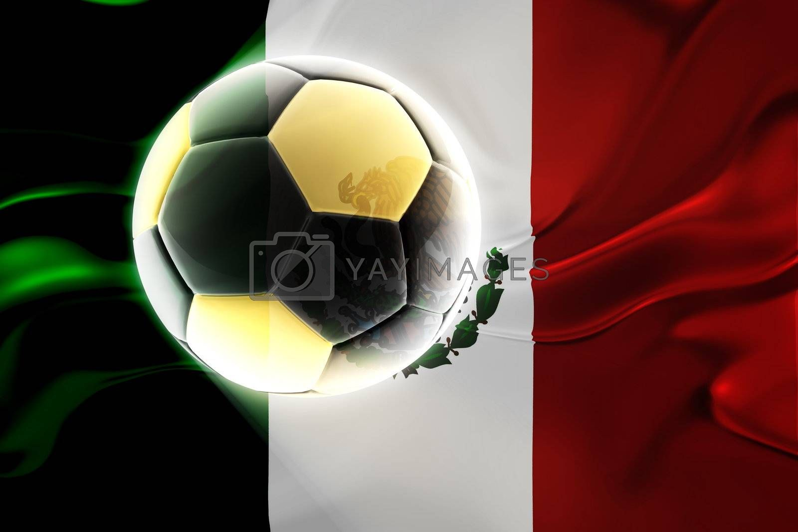 Flag of Mexico, national country symbol illustration wavy fabric sports soccer football
