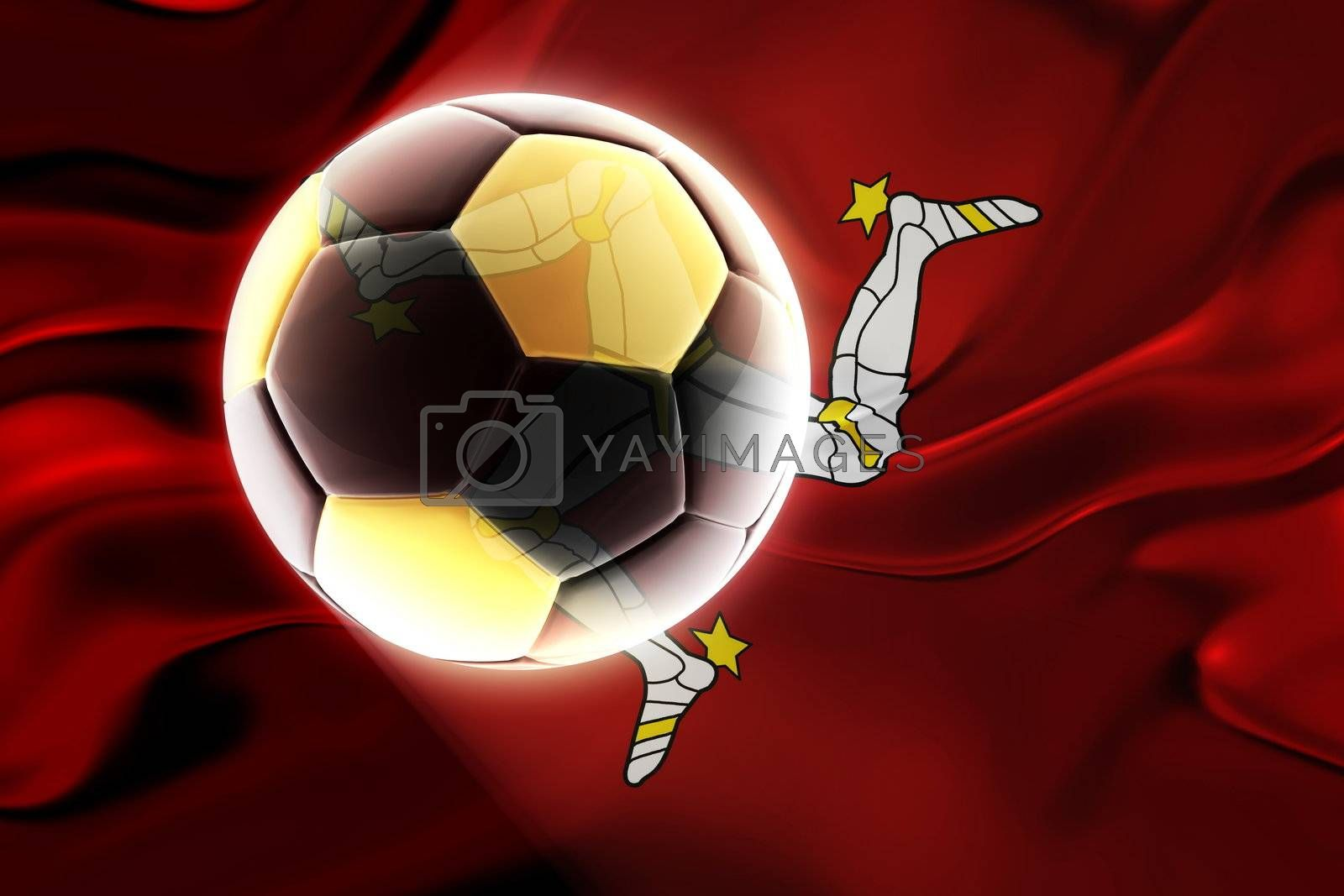 Flag of Isle of Man, national country symbol illustration wavy fabric sports soccer football