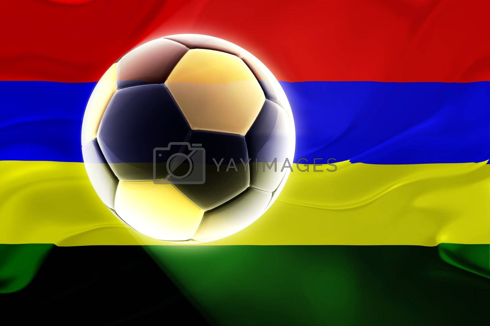 Flag of Mauritius, national country symbol illustration wavy fabric sports soccer football