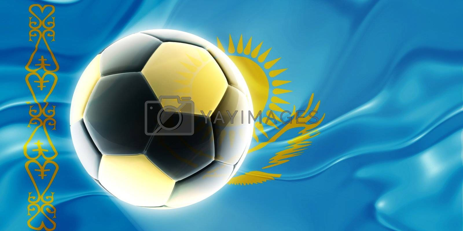 Flag of Kazakhstan, national country symbol illustration wavy fabric sports soccer football