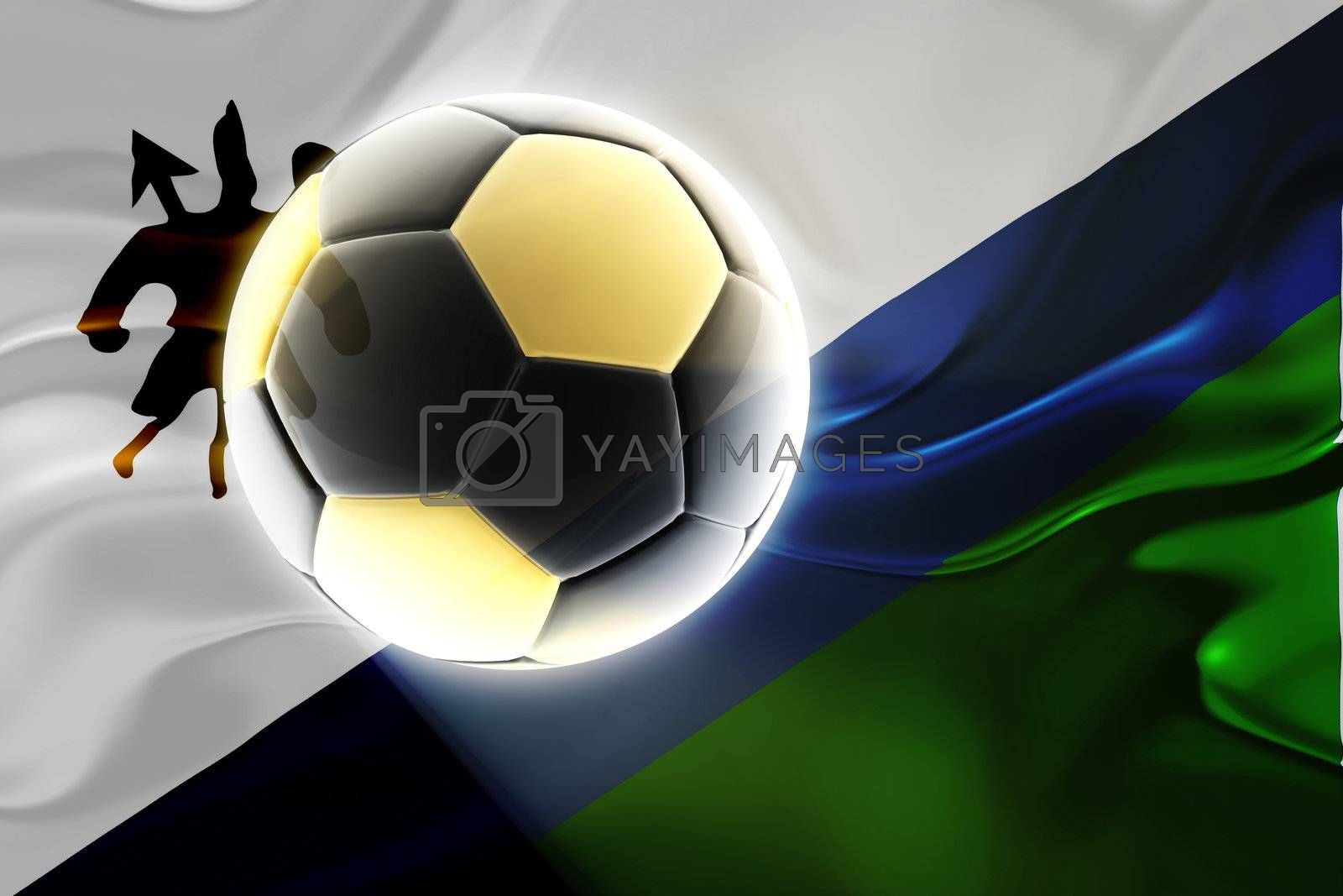 Flag of Lesotho, national country symbol illustration wavy fabric sports soccer football