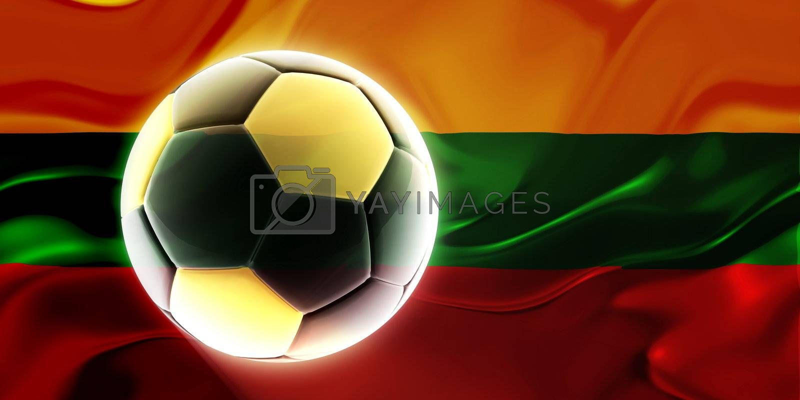 Flag of Lithuania, national country symbol illustration wavy fabric sports soccer football