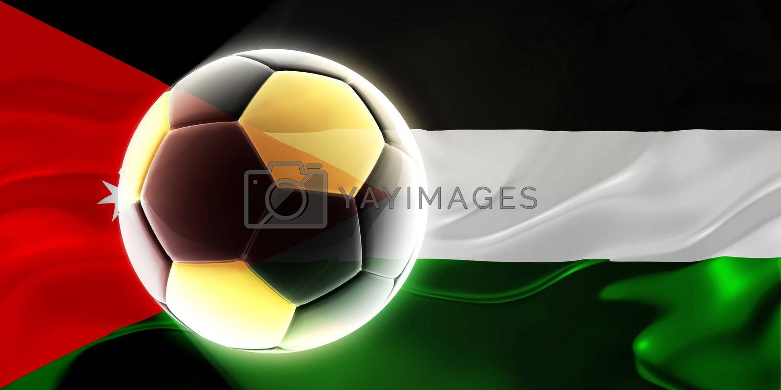 Flag of Jordan, national country symbol illustration wavy fabric sports soccer football