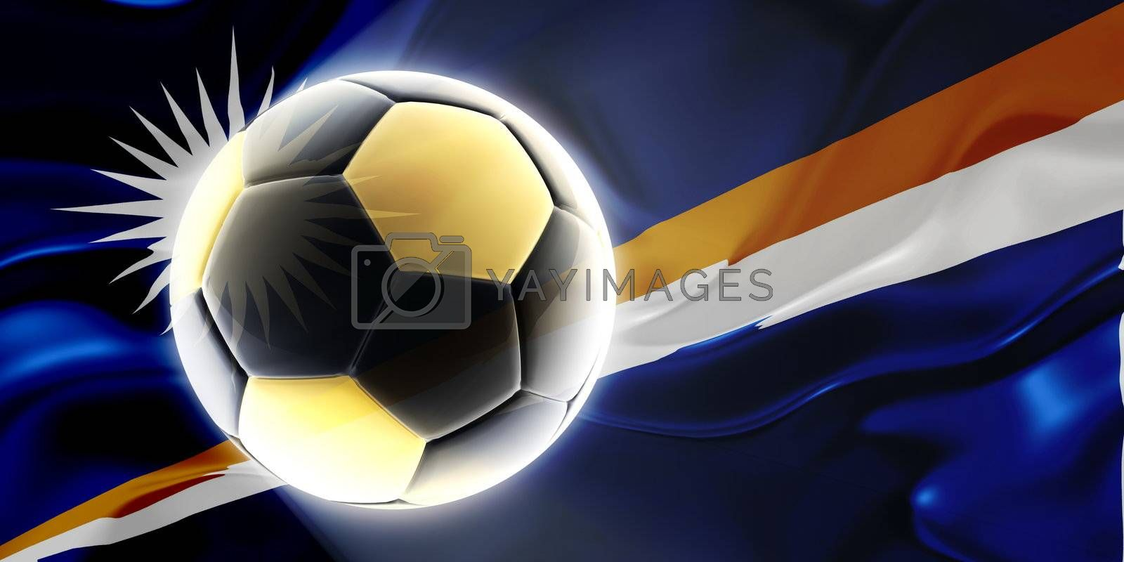 Flag of Marshall Islands, national country symbol illustration wavy fabric sports soccer football