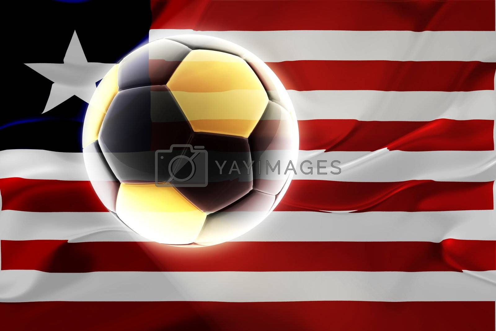 Flag of Liberia, national country symbol illustration wavy fabric sports soccer football