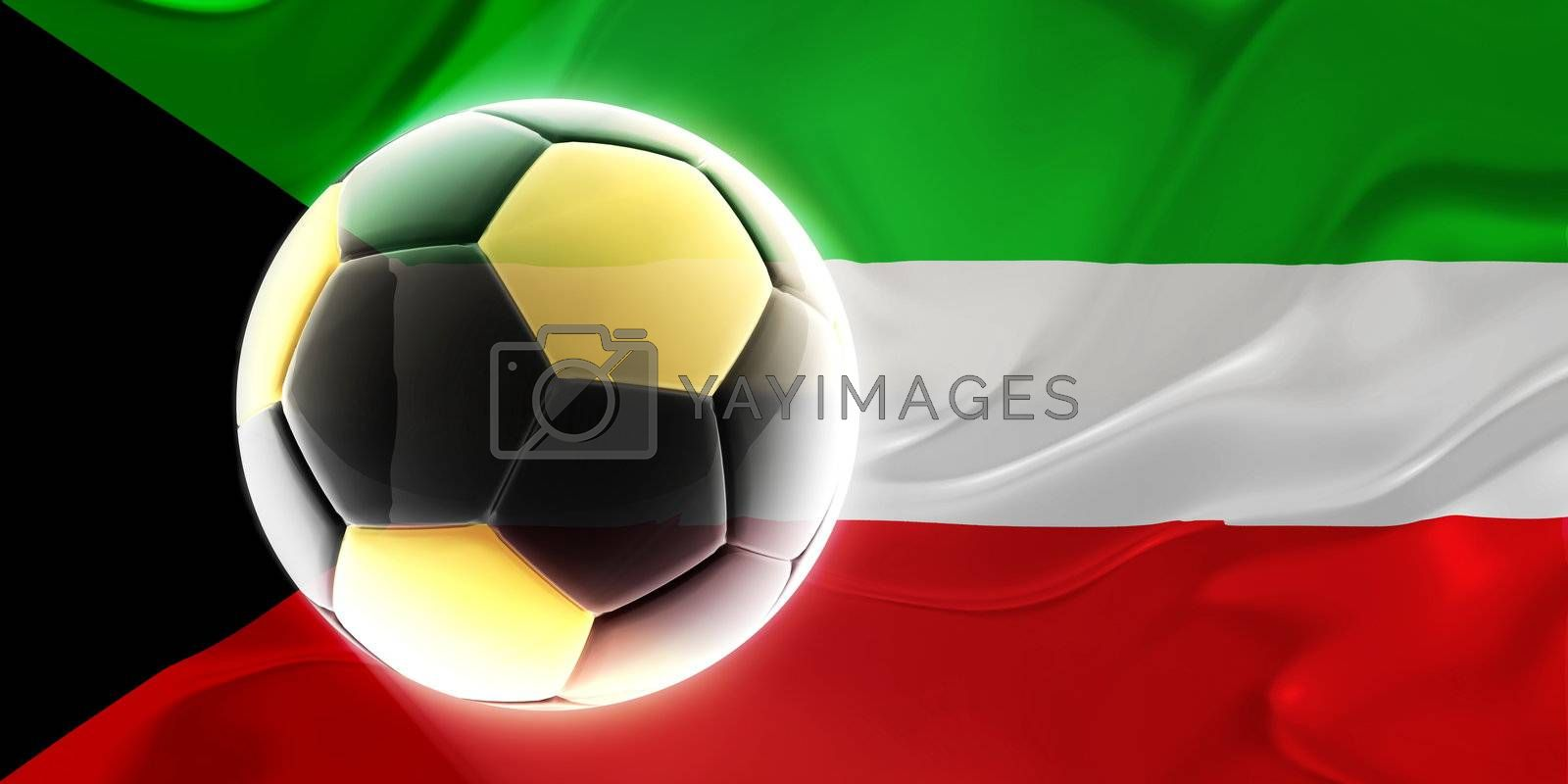 Flag of Kuwait, national country symbol illustration wavy fabric sports soccer football