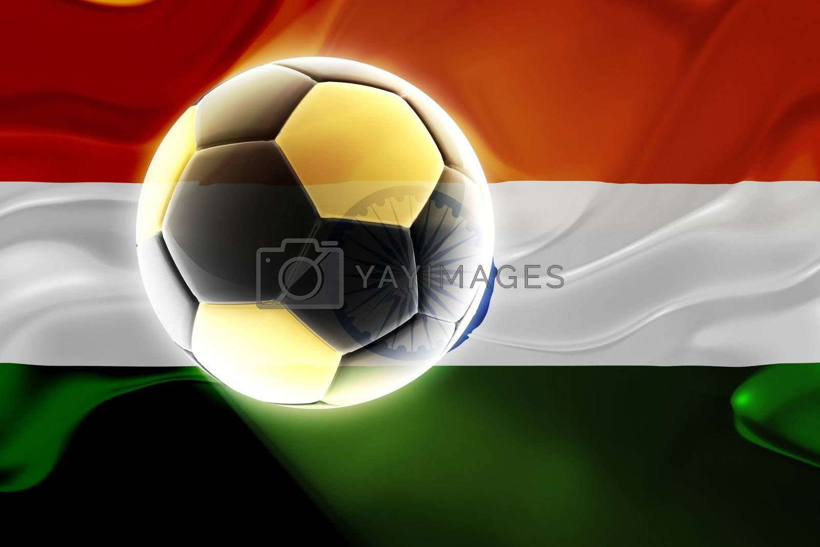 Flag of India, national country symbol illustration wavy fabric sports soccer football