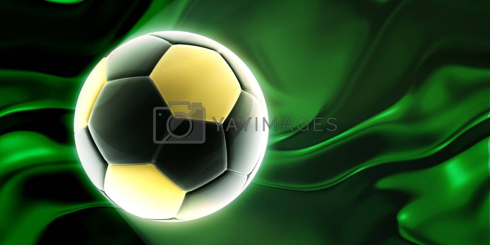 Flag of Libya, national country symbol illustration wavy fabric sports soccer football