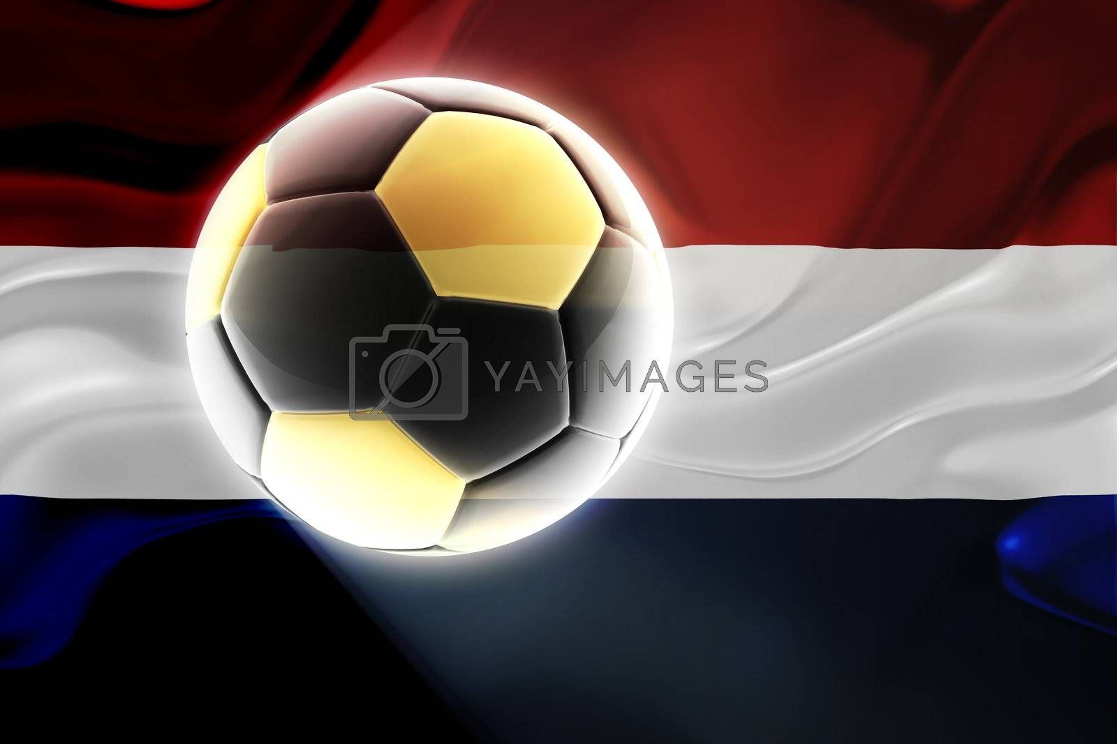 Flag of Netherlands, national country symbol illustration wavy fabric sports soccer football