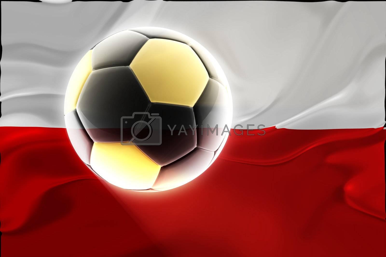 Flag of Poland, national country symbol illustration wavy fabric sports soccer football