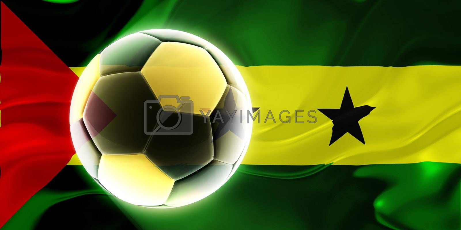 Flag of Sao Tome and Principe, national country symbol illustration wavy fabric sports soccer football
