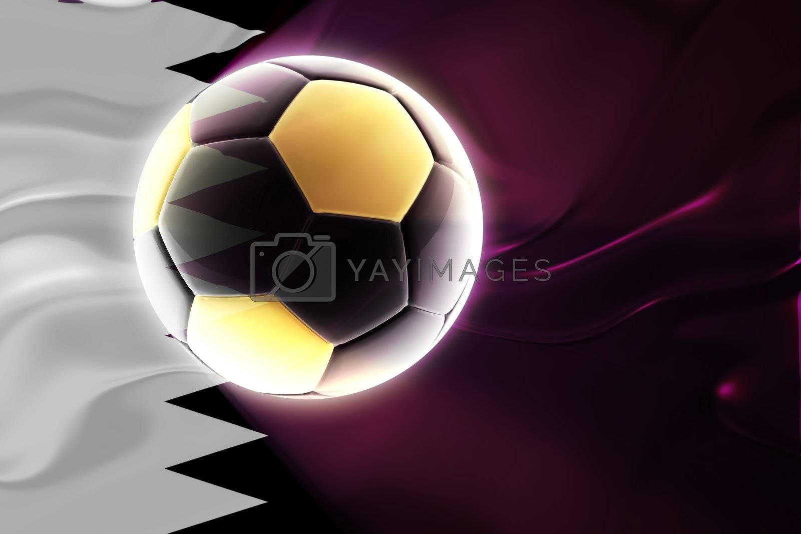 Flag of Qatar, national country symbol illustration wavy fabric sports soccer football