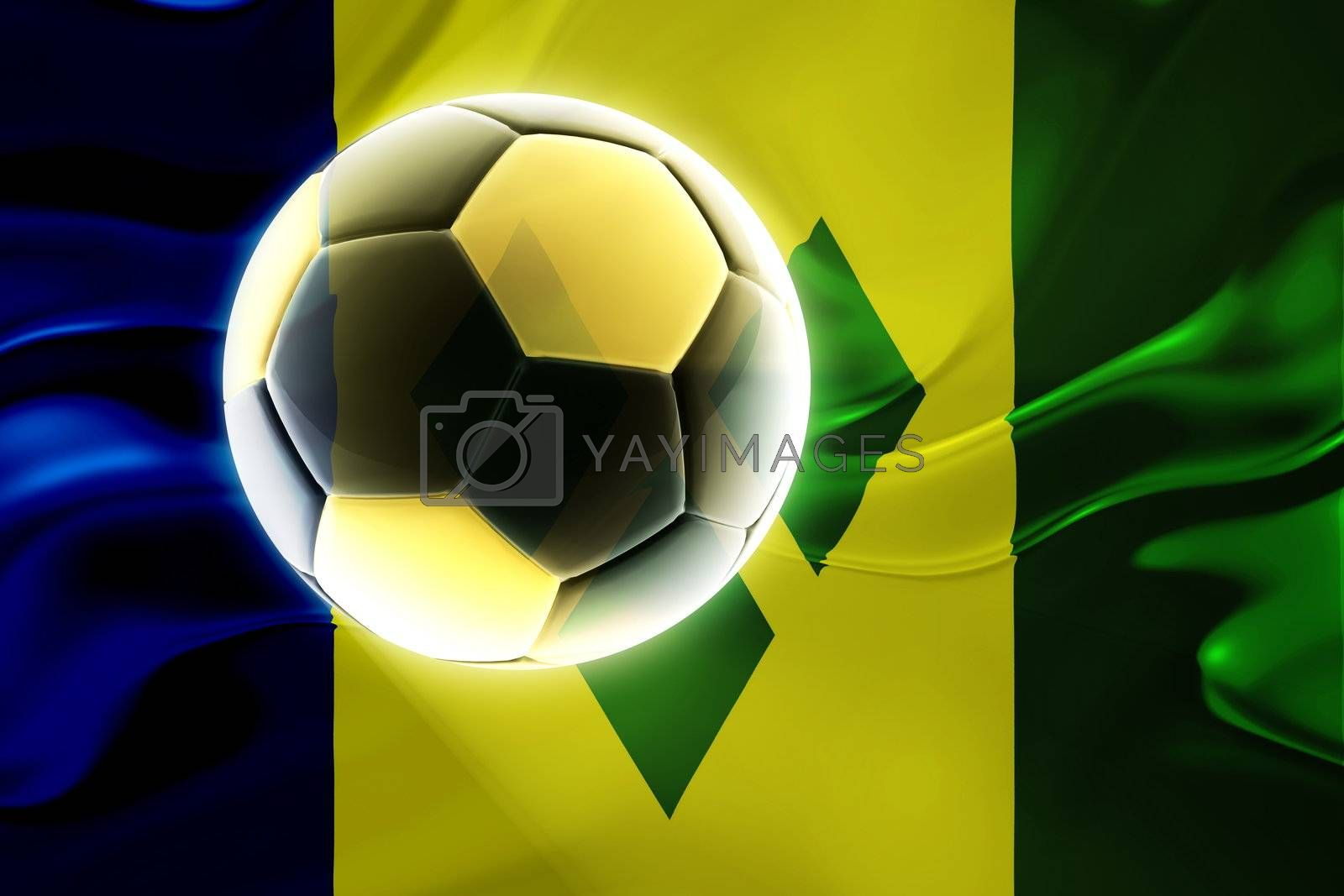 Flag of Saint Vincent and Grenadines, national country symbol illustration wavy fabric sports soccer football