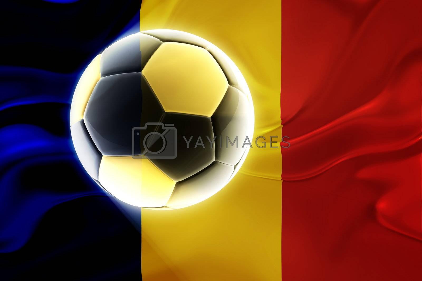 Flag of Romania, national country symbol illustration wavy fabric sports soccer football