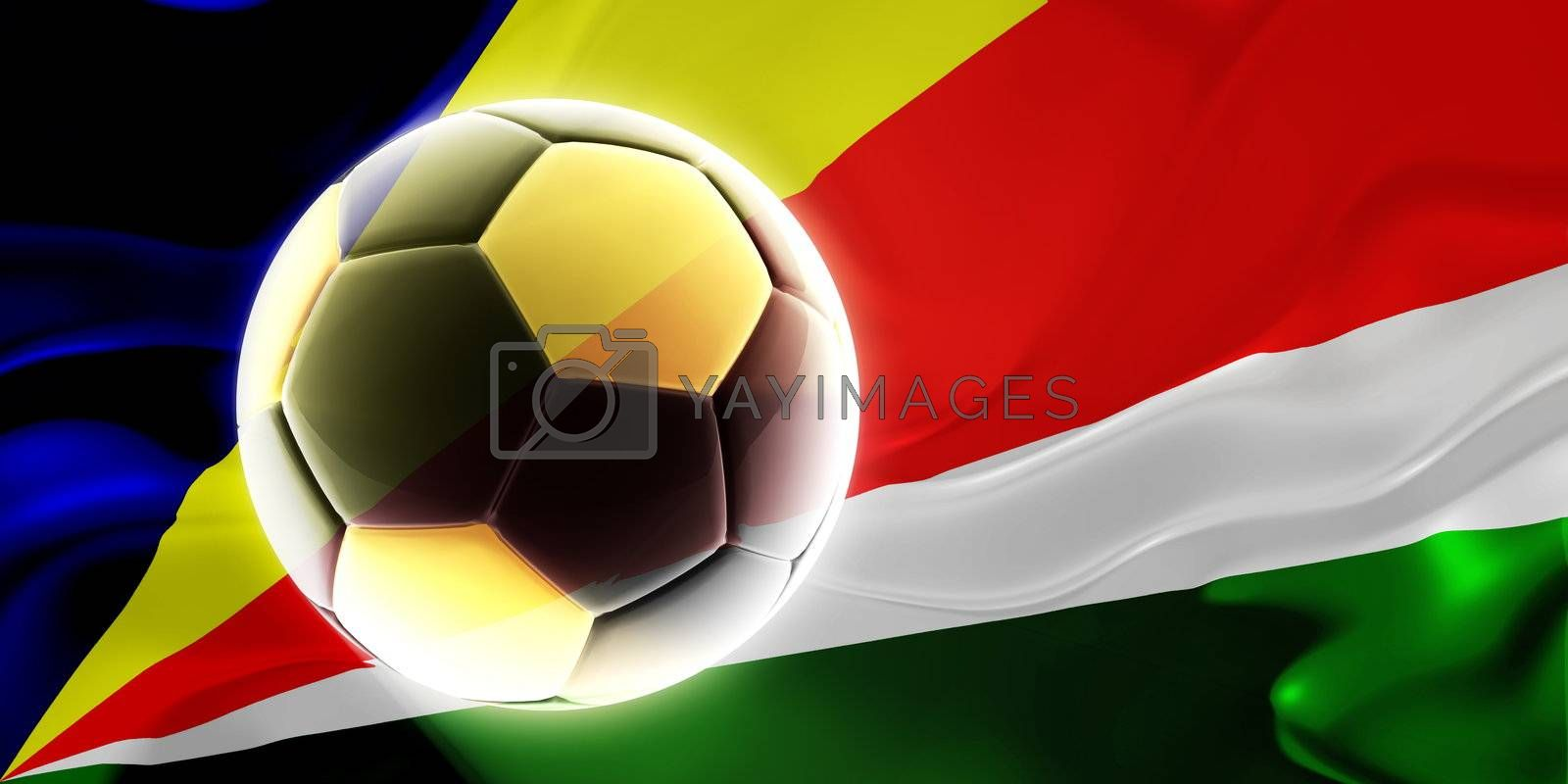 Flag of Seychelles, national country symbol illustration wavy fabric sports soccer football