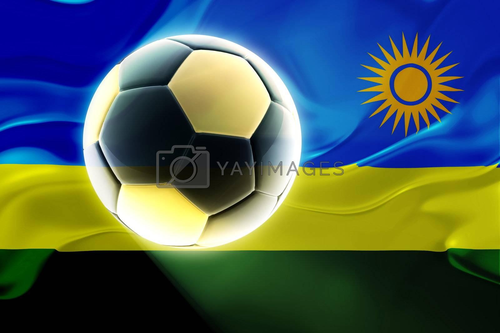 Flag of Rwanda, national country symbol illustration wavy fabric sports soccer football