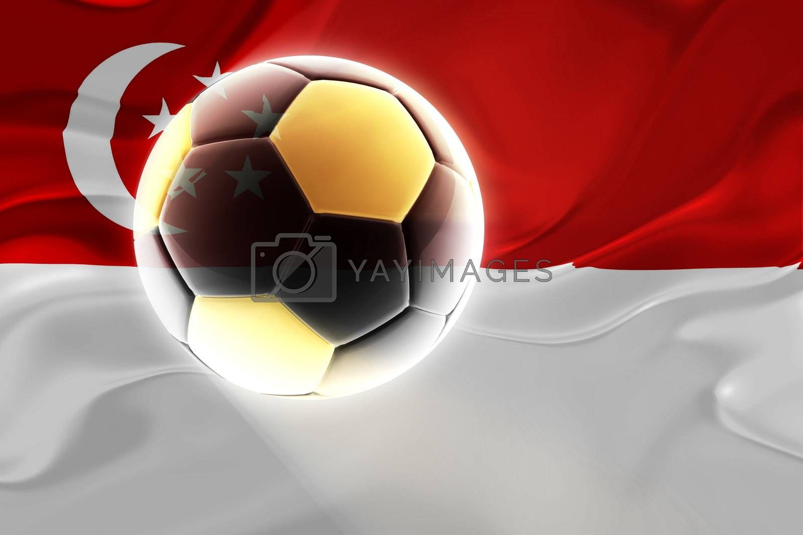 Flag of Singapore, national country symbol illustration wavy fabric sports soccer football