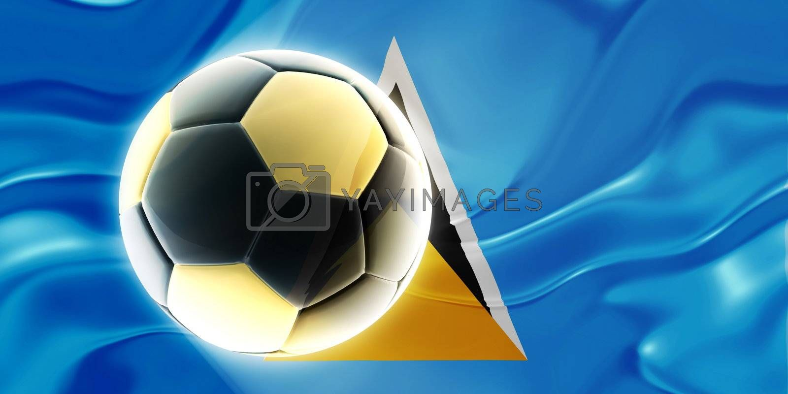 Flag of Saint Lucia, national country symbol illustration wavy fabric sports soccer football