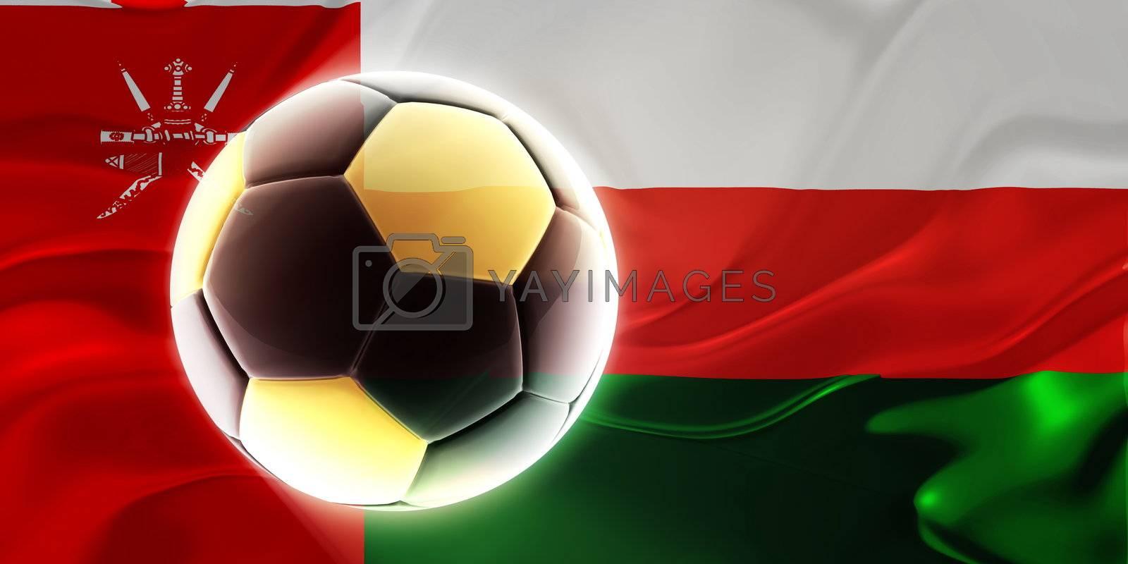 Flag of Oman, national country symbol illustration wavy fabric sports soccer football