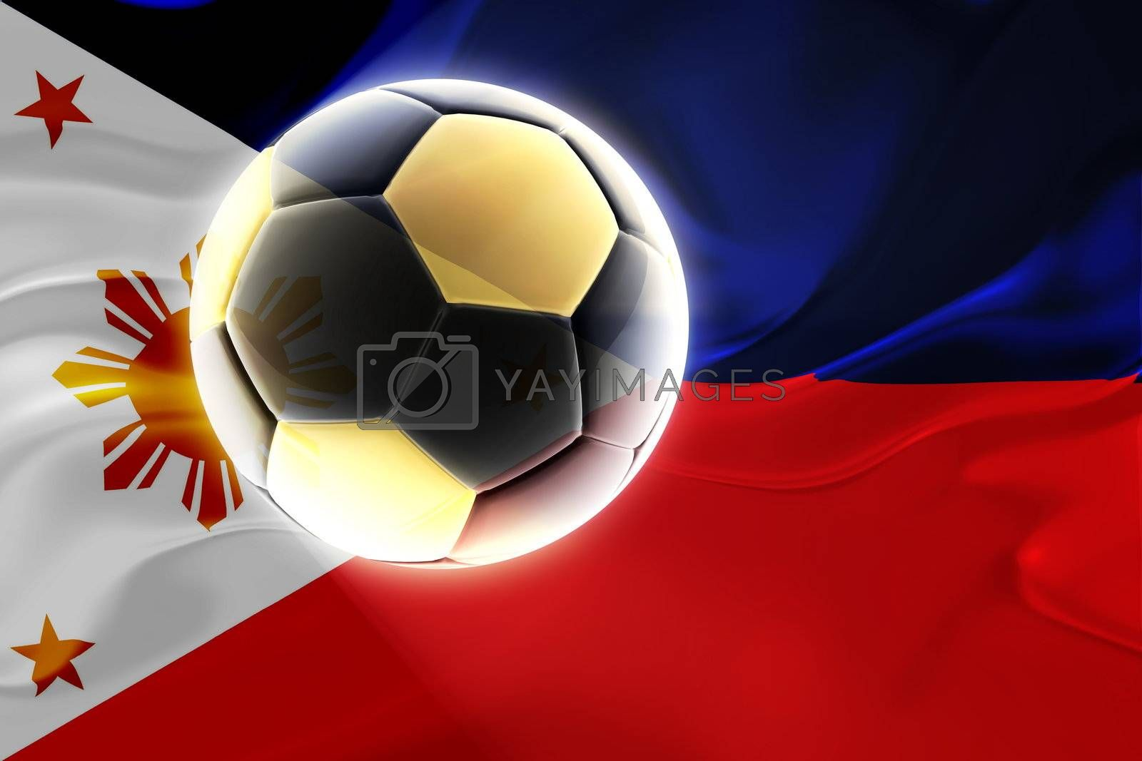 Flag of Philippines, national country symbol illustration wavy fabric sports soccer football