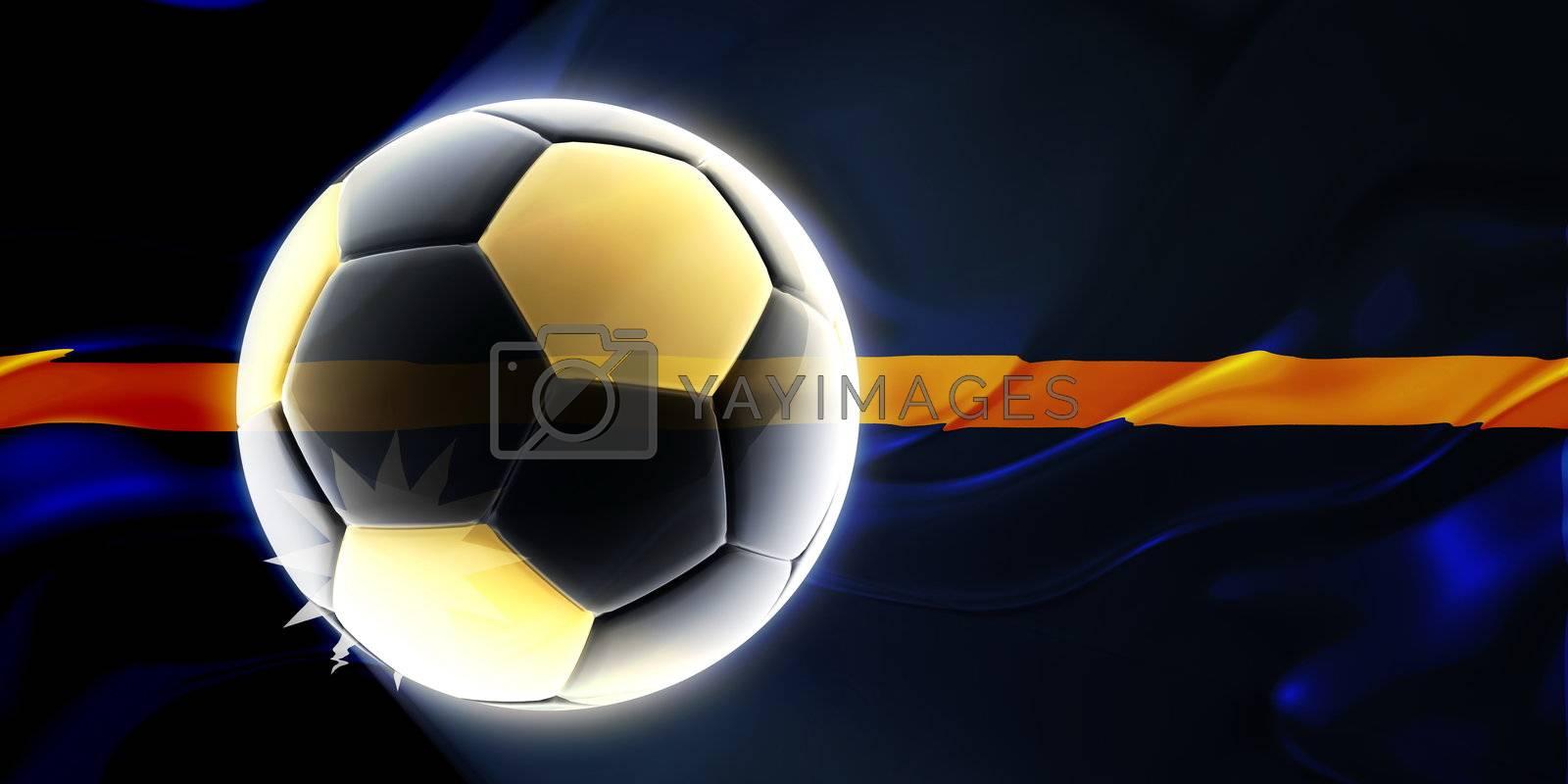 Flag of Nauru, national country symbol illustration wavy fabric sports soccer football