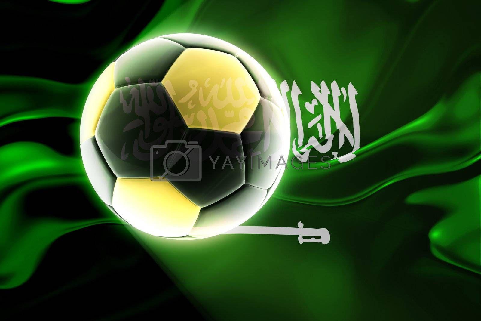 Flag of Saudi Arabia, national country symbol illustration wavy fabric sports soccer football