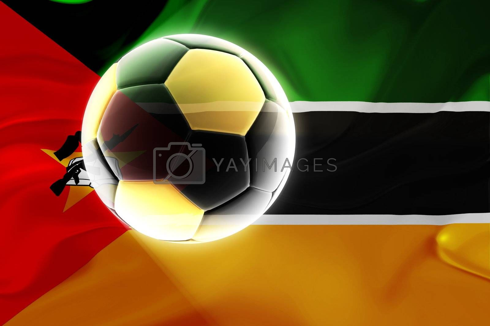 Flag of Mozambique, national country symbol illustration wavy fabric sports soccer football