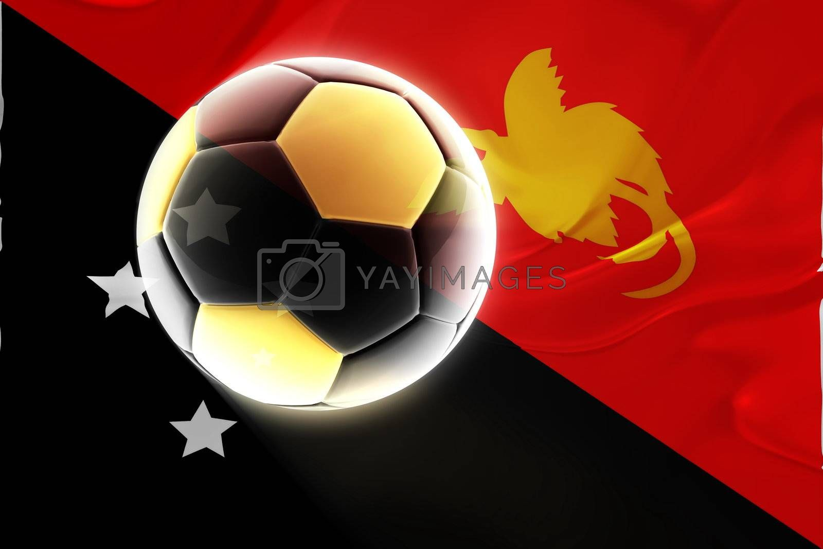 Flag of Papua New Guinea, national country symbol illustration wavy fabric sports soccer football