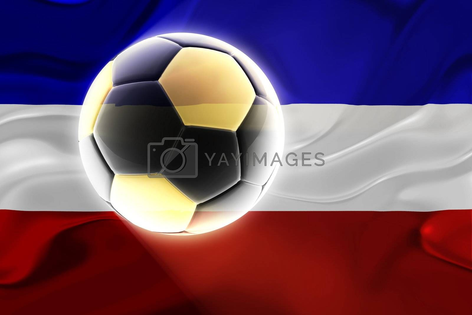Flag of Serbia and Montenegro, national country symbol illustration wavy fabric sports soccer football