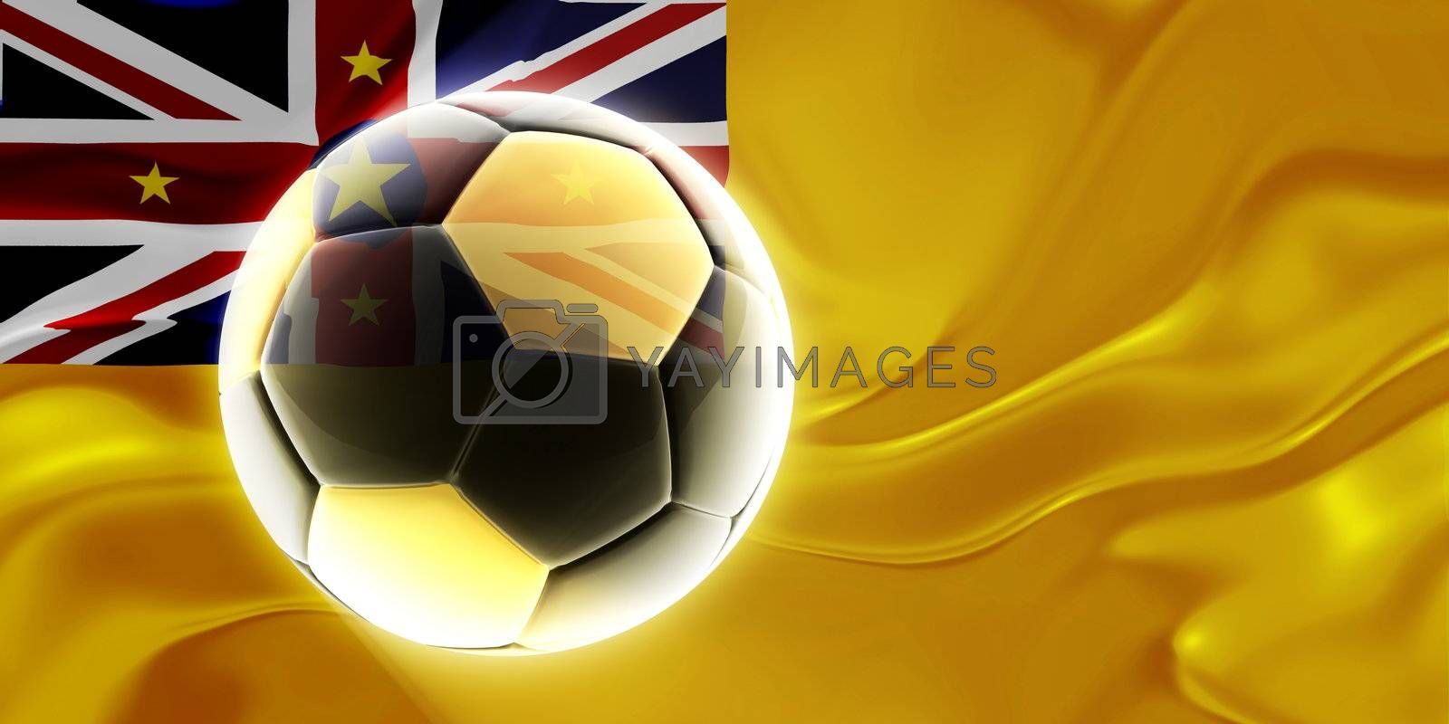 Flag of Niue, national country symbol illustration wavy fabric sports soccer football