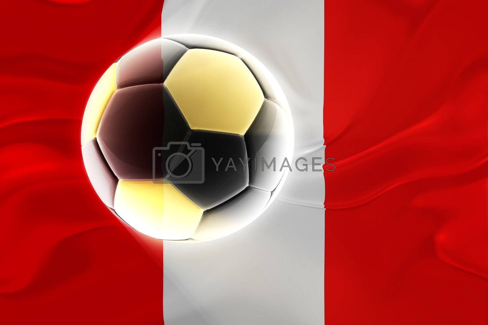 Flag of Peru, national country symbol illustration wavy fabric sports soccer football