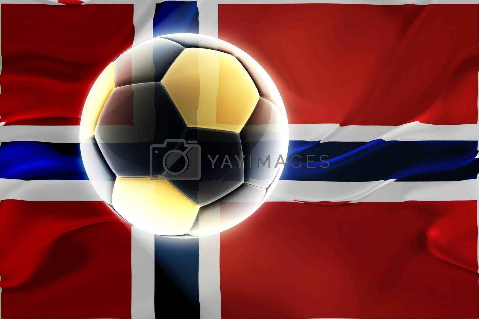 Flag of Norway, national country symbol illustration wavy fabric sports soccer football