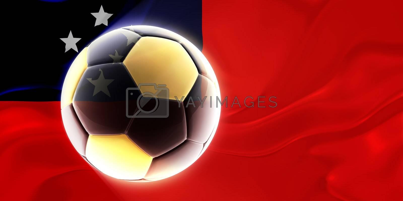 Flag of Samoa, national country symbol illustration wavy fabric sports soccer football