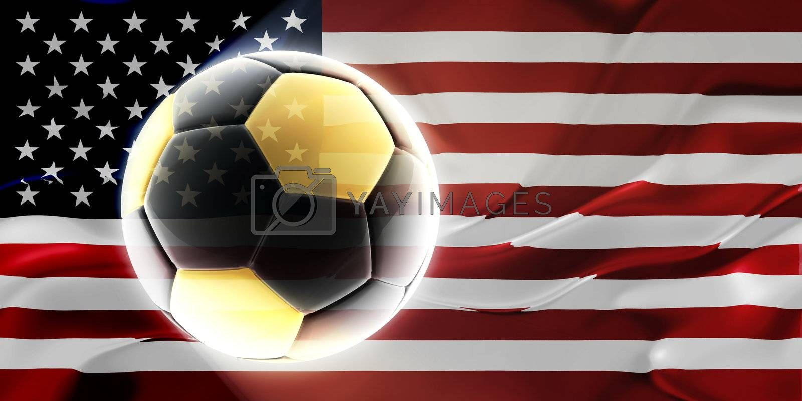 Flag of United States of America, national country symbol illustration wavy fabric sports soccer football