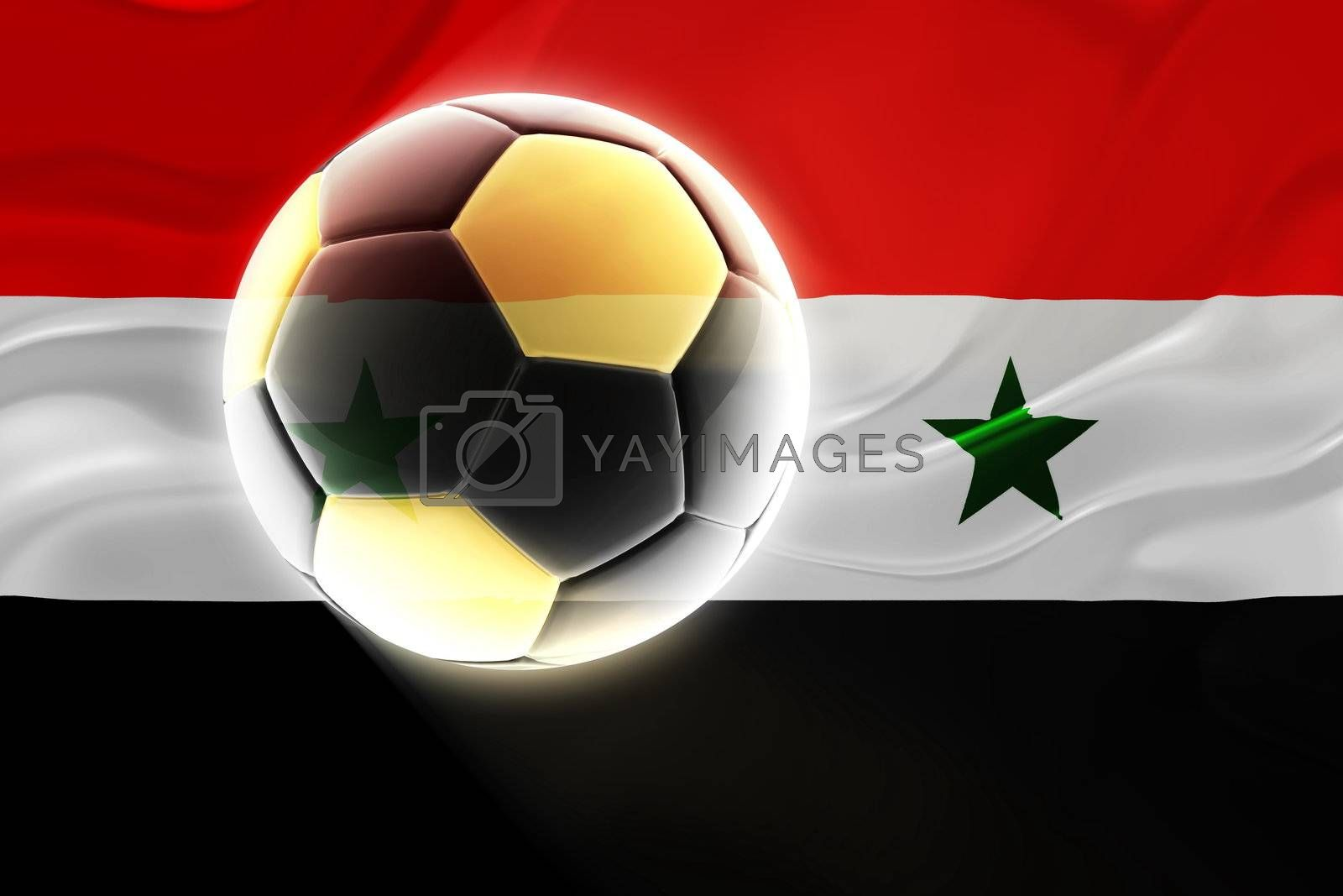 Flag of Syria, national country symbol illustration wavy fabric sports soccer football