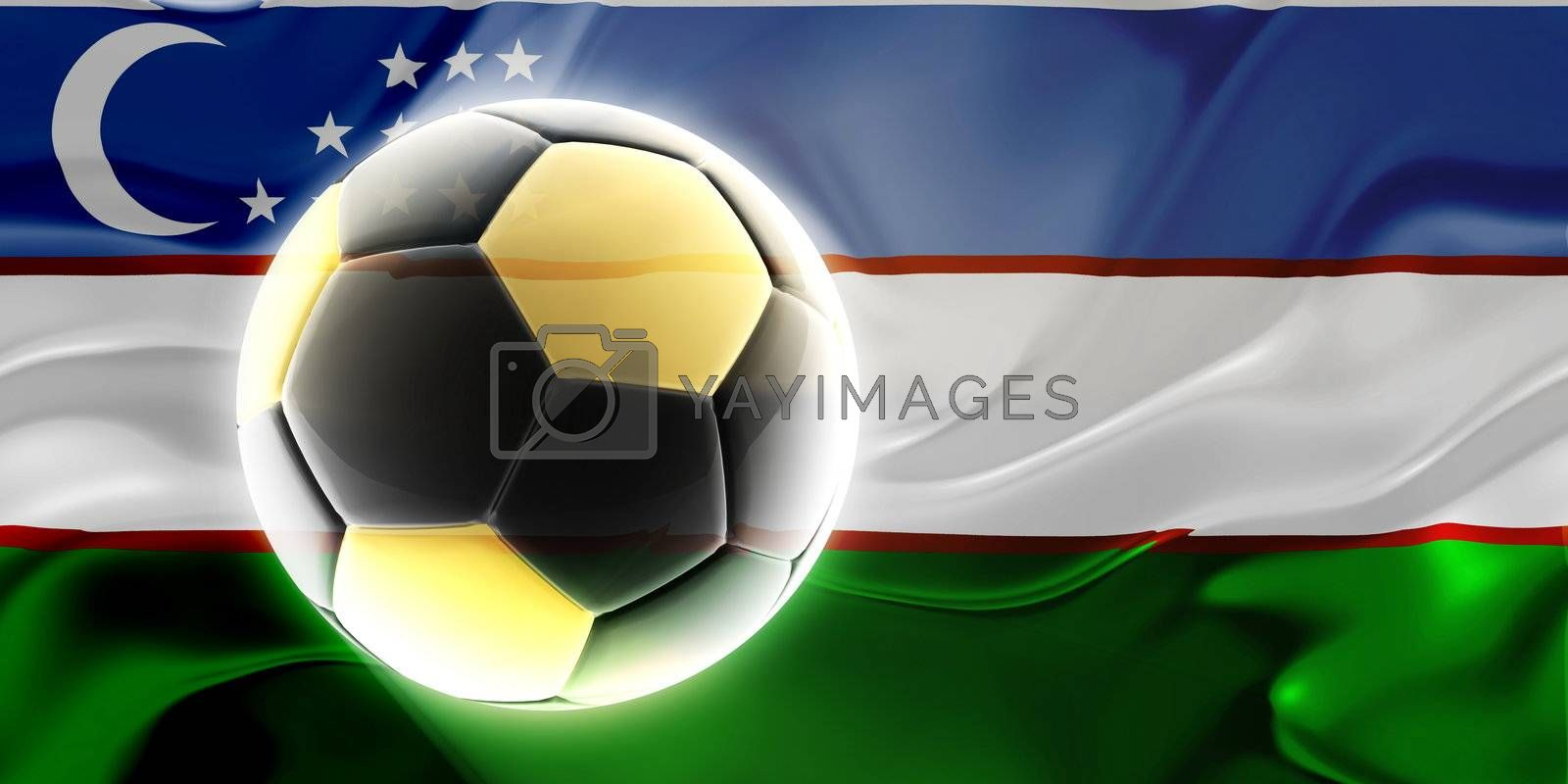 Flag of Uzbekistan, national country symbol illustration wavy fabric sports soccer football