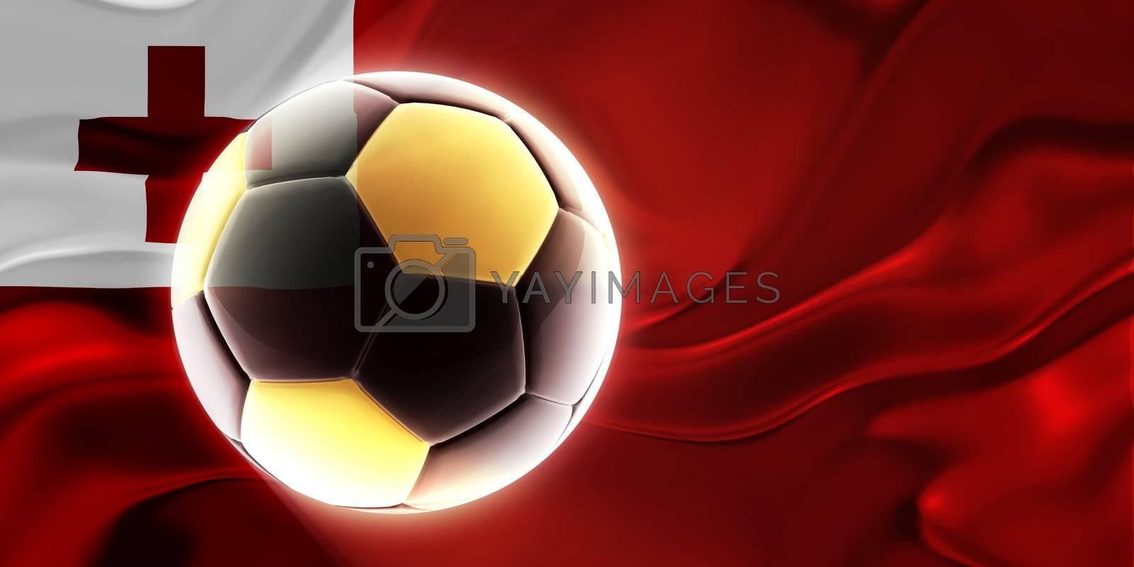 Flag of Tonga, national country symbol illustration wavy fabric sports soccer football