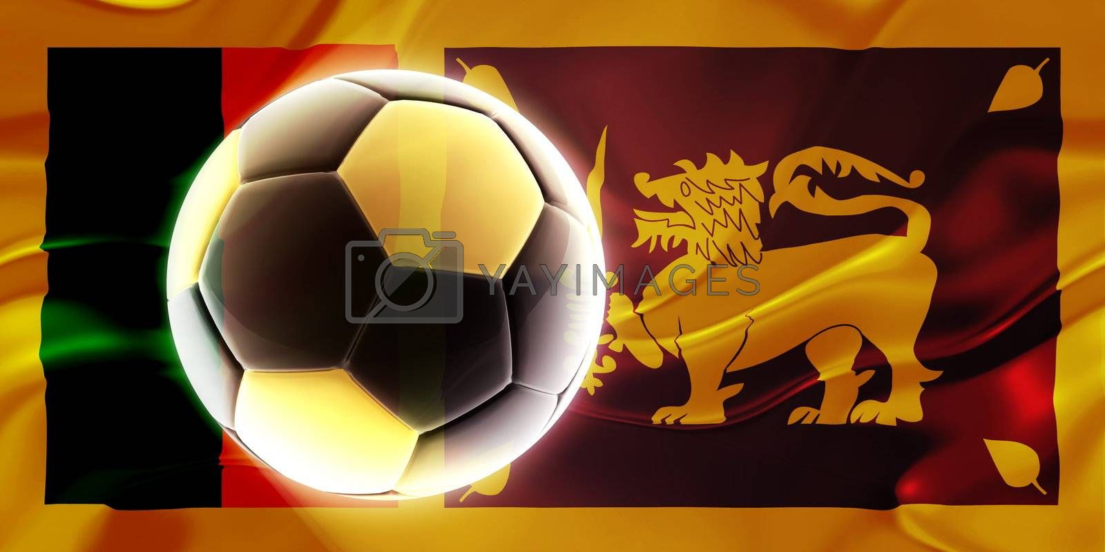 Flag of Sri Lanka, national country symbol illustration wavy fabric sports soccer football