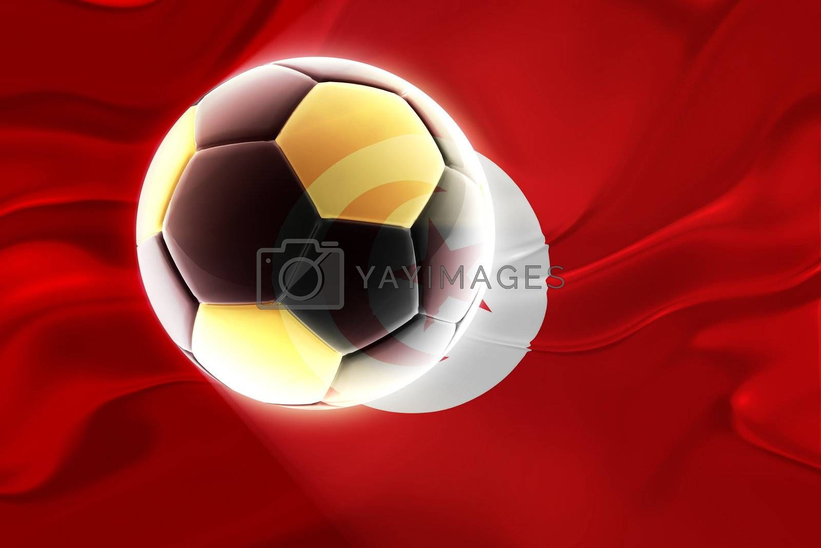 Flag of Tunisia, national country symbol illustration wavy fabric sports soccer football