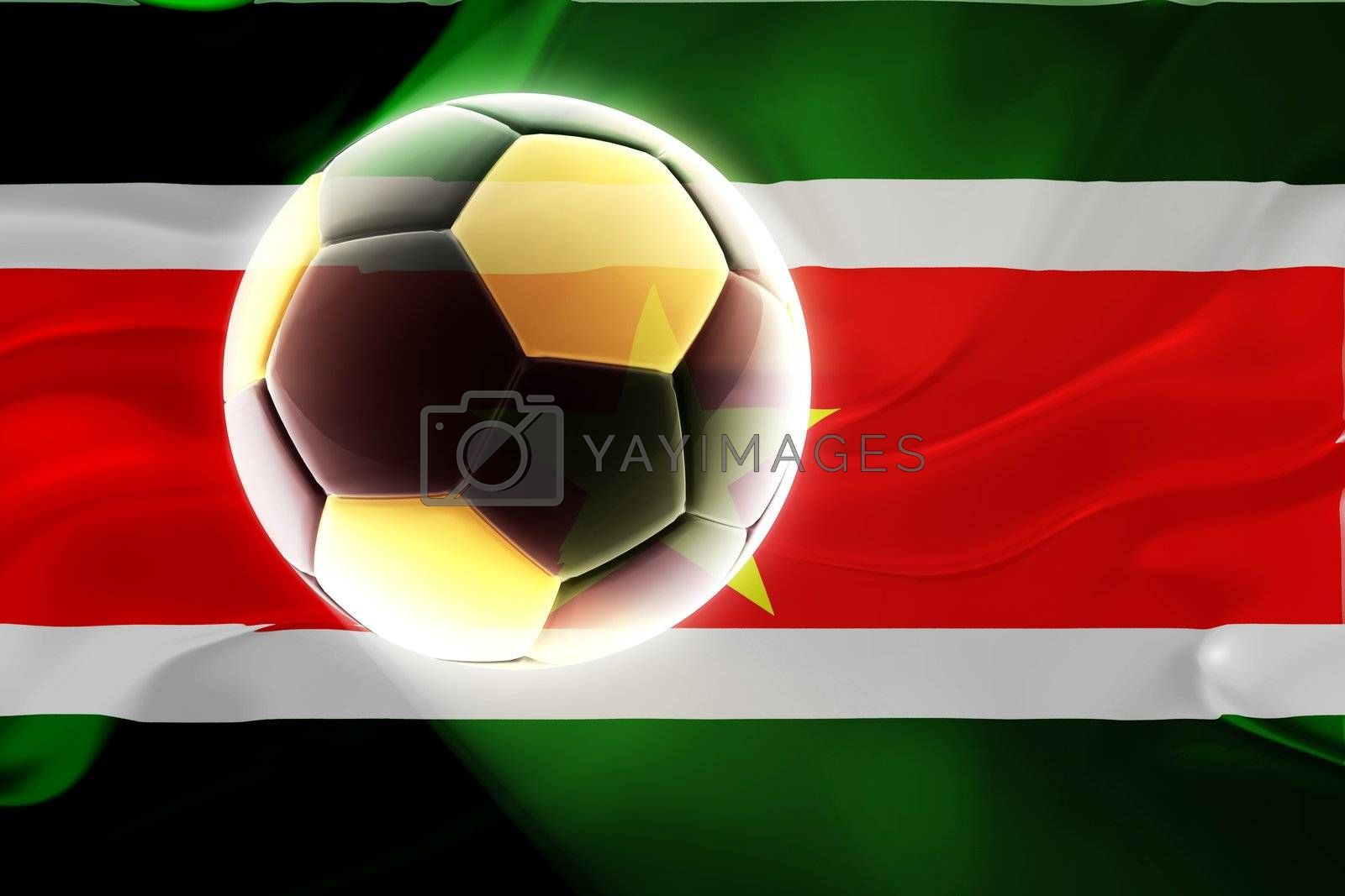 Flag of Suriname, national country symbol illustration wavy fabric sports soccer football